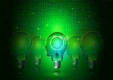 Электрические лампочки человеческой головы с предпосылкой технологии Иллюстрация вектора