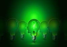 Электрические лампочки человеческой головы творческий думать Стоковая Фотография