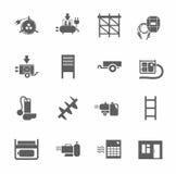 Электрические оборудование и строительное оборудование, значки одно-цвета Стоковые Изображения