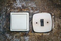 Электрические переключатели на стене Стоковая Фотография