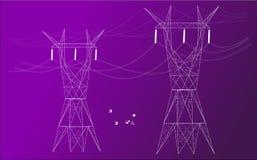 Электрические столбы в покрашенной предпосылке иллюстрация вектора