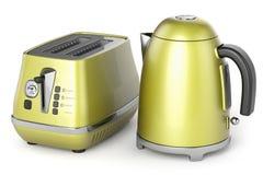 Электрические чайник и тостер 3d иллюстрация штока