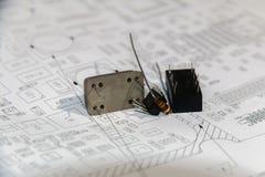 Электрические части с планом стоковая фотография rf
