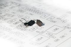 Электрические части с планом стоковое фото