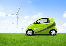 Электрический автомобиль зеленого цвета 3D Стоковые Фотографии RF