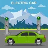 Электрический автомобиль и зарядная станция, иллюстрация вектора, плоский стиль Стоковое фото RF