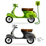 Электрический мопед и мотоцикл самоката на белой предпосылке, векторе Стоковые Изображения