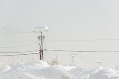 Электрический поляк покрытый с много снегом в зиме Стоковые Изображения