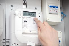 Электрический счетчик энергии Электрический блок стоковые изображения rf