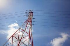 электрическое высокое напряжение тока полюса стоковое фото rf