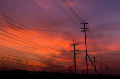 Электричество на вечере Стоковое фото RF