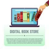 Электронная библиотека, онлайн документы, цифровой книжный магазин, книги на экране компьютера vector концепция образования Стоковая Фотография