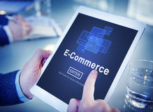 Электронная коммерция выходя онлайн регистр вышед на рынок на рынок вписывает концепцию технологии Стоковое фото RF