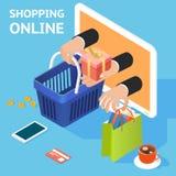 Электронная коммерция или он-лайн принципиальная схема покупкы иллюстрация штока