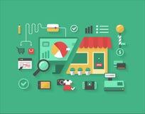 Электронная коммерция и розничные покупки иллюстрация вектора