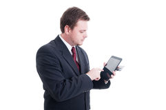 Электронная коммерция, концепция e-банка при бизнесмен держа таблетку стоковое фото