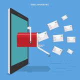 Электронная почта выходя плоскую концепцию вышед на рынок на рынок вектора Стоковые Фото