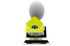 электронная почта человека 3d от концепции компьтер-книжки Стоковое Изображение RF