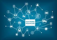 Электронная предпосылка здравоохранения как иллюстрация в переведенной в цифровую форму больнице Стоковое Изображение RF