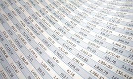 Электронная таблица при номера пропуская к левой стороне Стоковая Фотография RF