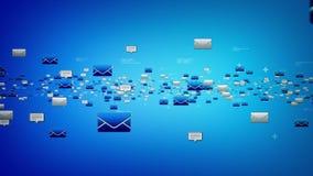 Электронные почты и текстовые сообщения голубые иллюстрация вектора
