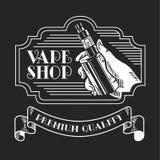 Электронные сигарета и жидкость, значки вектора магазина Vape monochrome, эмблемы бесплатная иллюстрация