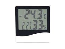 Электронные часы, календарь, термометр и влагомер Стоковое фото RF