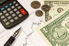 Электронный калькулятор, монетки с банкнотами долларов США и ручка шарика на предпосылке план-графика роста валюты Стоковые Изображения RF