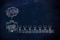 Электронный мозг на производственной линии идей Стоковые Изображения RF