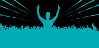 Электронный фестиваль танцевальной музыки с людьми танцев Стоковое фото RF