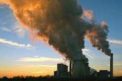 Электростанция, заход солнца Стоковая Фотография RF