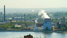 электростанция 4K Timelapse Город озера промышленно акции видеоматериалы