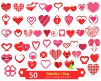 50 элементов дизайна вектора дня валентинок Стоковые Изображения RF