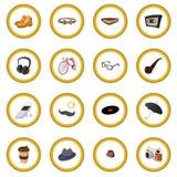 16 элементов шаржа стиля битника Стоковая Фотография RF