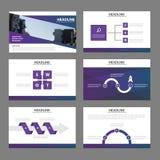 Элементов Infographic шаблонов представления элегантности дизайн фиолетовых плоский установил для рекламы маркетинга листовки рог Стоковые Изображения RF