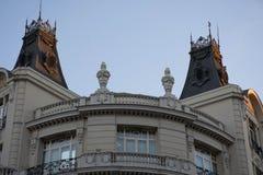 Элементы архитектуры Оформление зданий в центре Мадрида, Испании Справочная информация Стоковые Фотографии RF