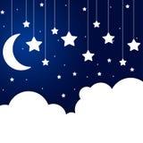 Элементы бумажных облаков и звезд на строке Стоковая Фотография RF