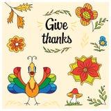 Элементы благодарения нарисованные рукой для карточек и плакатов Стоковые Изображения RF