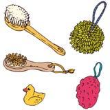 Элементы ванной комнаты Губки, Washcloths и щетки Стоковое фото RF