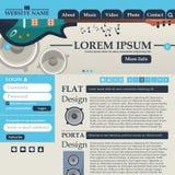 Элементы веб-дизайна в ретро сини и беже стиля шаблон нот вектор Стоковые Фото