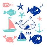 Элементы вектора моря, рыбы Стоковые Изображения RF