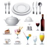 Элементы вектора для еды и питья Стоковое Изображение