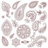 Элементы вектора doodle татуировки хны на белой предпосылке Стоковое Изображение