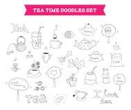 Элементы вектора doodle чая иллюстрация штока