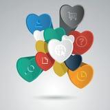Элементы вектора infographic с сердцами Стоковая Фотография RF