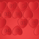 Элементы вектора infographic с сердцами Стоковые Изображения