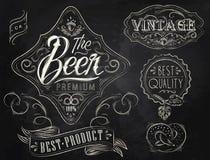 Элементы года сбора винограда пива. Мел. Стоковое Изображение