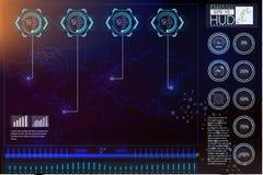 Элементы головного дисплея для сети и app Виртуальная предпосылка технологии Футуристический пользовательский интерфейс Игровой д Стоковые Фотографии RF