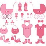 Элементы девушки детского душа Объявление младенца Стоковые Изображения