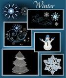 Элементы зимы Стоковые Изображения